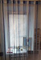 Нитяные шторы (кисея) сине-голубые