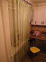 Нитяные шторы (кисея) Зелёно-бежевая, фото 1