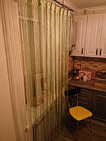 Нитяные шторы (кисея) Зелёно-бежевая