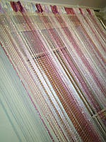 Нитяные шторы (кисея)  Розовые