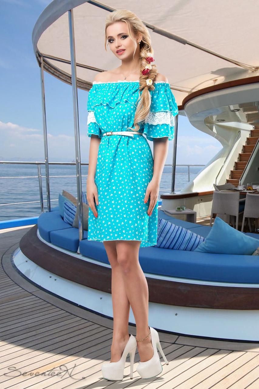3a161542d2c Летнее платье спадающее с плеч с кружевом на рукавах 42-52 размеры - 💎TM