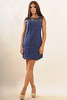 Женское платье из натурального льна | т.синий (р.42-52)