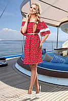 Летнее платье спадающее с плеч с кружевом на рукавах 42-52 размеры, фото 1