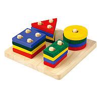 """Деревянная игрушка """"Сортер-доска с геометрическими фигурами"""", PlanToys"""