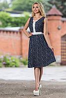 Красивое летнее платье с юбкой клеш из штапеля 44-50 размеры