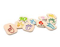 """Деревянная игрушка """"Числа 1-10 с символами язык жестов"""", PlanToys"""