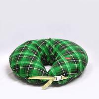 Подушка фланель. Зеленая клетка