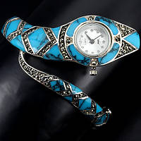 """Серебряные часы с аризонской бирюзой """"Змейка"""" от студии LadyStyle.Biz"""
