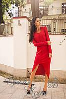 Асимметричное красное ангоровое платье с разрезом впереди (3 цвета)