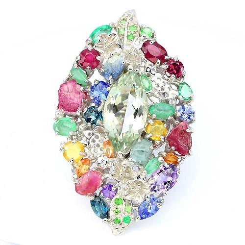 Крупное Эксклюзивное Дизайнерское Кольцо с натуральными камнями