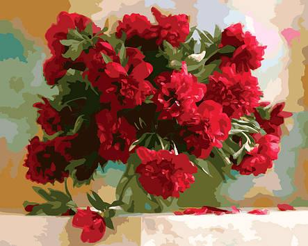 Картина по номерам «Идейка» (КН1133) Красные пионы (Дарья Никончук), 50x40 см, фото 2