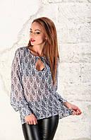Женская легкая шифоновая блуза в принт