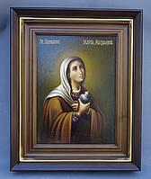 Ровный киот для иконы Святой Марии Магдалины с деревянной рамкой и золочёным штапиком.