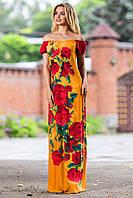 Длинное нарядное летнее платье с принтом розы 42-48 размеры, фото 1