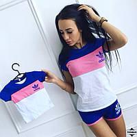 Спортивный комплект мама и дочка футболка с шортами (4 цвета)