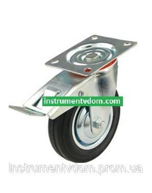Колесо 530075 с поворотным кронштейном и тормозом (диаметр 75 мм)