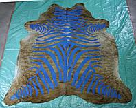 Коровья шкура тигровая с нанесенным принтом под зебру, фото 1