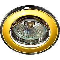 Светильник со светодиодами Feron 213 301Т плоско-поворот. под MR-11 черный-золото/D/L GU4 BK-GD