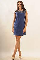 Повседневное платье женское лен, темно-синего цвета.