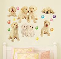 """Наклейка на стену, виниловые наклейки мультфильм """"Веселые собачки"""" (лист50*70см)"""