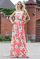 Сарафан летний в пол из масла с цветочным принтом 42-52 размеры, фото 1