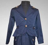Детский пиджак, школьный, цвет темно-синий, для девочки, последний 128 размер