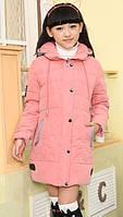 Пуховик для девочки розовый размер 128 на пуху