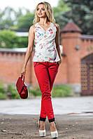 Красивая шифоновая блуза с модным принтом 44-50 размеры, фото 1