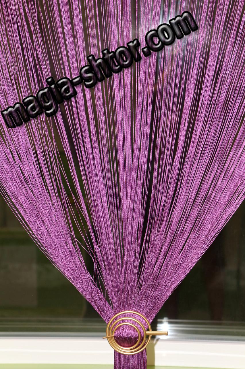 Шторы нити однотонные. Цвет фиолетовый