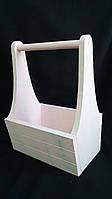 Ящик деревянный розового цвета, 25х17х36 см.,190/160 (цена за 1 шт. + 30 гр.)