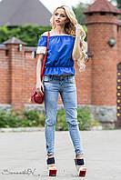 Простора, об'ємна блуза вільного покрою з рюшами на рукавах 42-44 розміри, фото 1