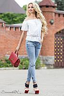 Просторная, объемная блуза свободного покроя с рюшами на рукавах 42-44 размеры