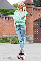 Просторная, объемная блуза свободного покроя с рюшами на рукавах 42-44 размеры, фото 1