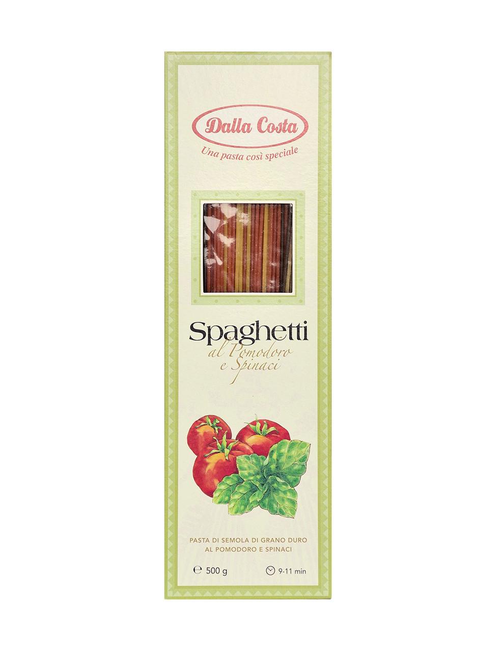 Спагетти твердых сортов Dalla Costa Spaghetti al Pomodoro e Spinaci, 500 г.