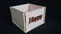 Розовый ящик-кашпо (фанера), 13х13х9 см, 125/95 (цена за 1 шт. + 30 гр.)