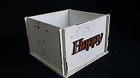 Ящик-кашпо из фанеры белого цвета, 13х13х9 см, 125/95 (цена за 1 шт. +30 гр.)