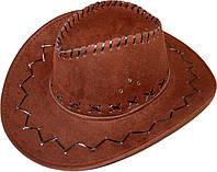 Шляпа ковбоя замшевая (темно-коричневая) 170216-362