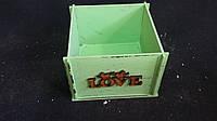 Салатовый ящик-кашпо из фанеры 13х13х9 см, 125/95 (цена за 1 шт. + 30 гр.)