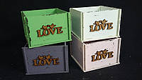 Ящик-кашпо из фанеры оливкового цвета, 13х13х9 см, 125/95 (цена за 1 шт. + 30 гр.)
