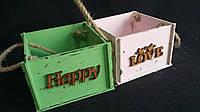 Ящик-кашпо (фанера) с ручками в разных цветах, 13х13х9 см, 125/95 (цена за 1 шт. + 30 гр.)