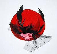 Шляпка мини Гламур (Красная) 170216-164