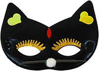 Маска детская Кошка ткань (черная) 240216-440