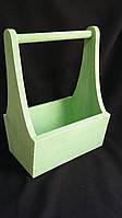 Ящик деревянный салатовый, 25х17х36 см 190/160 (цена за 1 шт. + 30 гр.)