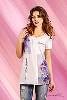 Удлиненная футболка с коротким рукавом из вискозы с рисунком 42-52 размеры, фото 1
