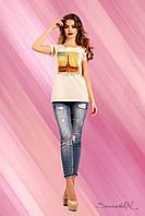 Модна жіноча футболка з віскози з малюнком 42-52 розміри, фото 1