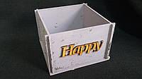 Розовый ящик-кашпо из фанеры 13х13х9 см 125/95 (цена за 1 шт +30 гр.)