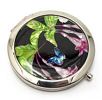 Зеркальце косметическое Бабочка и цветы