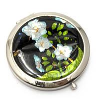 Зеркальце красивое косметическое Белые цветы