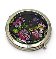 Зеркальце круглое косметическое Розовые цветы