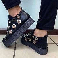 Туфли женские на платформе с люверсами из натуральной кожи оптом и в розницу
